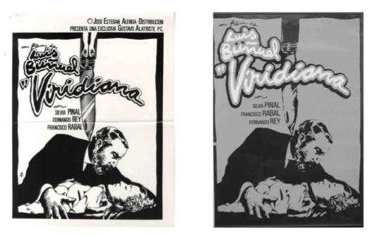 Cartel prohibido y cartel autorizado de Viridiana