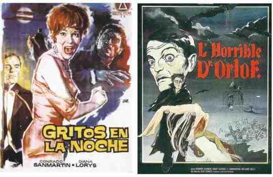 Dos versiones del cartel Gritos en la noche, de Jesús Franco